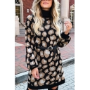 Women's Fashion Pretty Long Sleeve High Neck Leopard Print Belted Knit Short A-Line Sweater Dress in Black