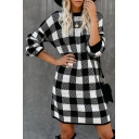 Fashion Girls' Long Sleeve Crew Neck Plaid Patterned Knit Short Shift Sweater Dress