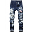 Mens Creative Terrible Skull Pattern Slim Fit Zipper Jeans Denim Pants