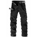 Mens Outdoor Leisure Plain Side Pocket Zipper Front Straight Fit Work Pants