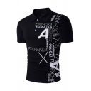 Hip-Hop Stylish Letter Printed Short Sleeves Button Front Slim Fit Leisure Polo Shirt