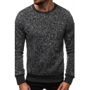 Mens Popular Solid Color Long Sleeve Crew Neck Pullover Sweatshirt