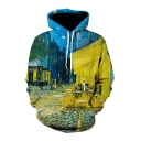 Unique Cafe Terrace at Night 3D Print Long Sleeve Loose Hoodie