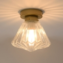 Clear Glass Scalloped Ceiling Lighting Colonial 1 Head Kitchen Flush Mount Light Fixture in Brass, 6.5