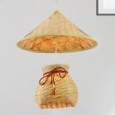 Contry Style Coolie Hat Pendant Lighting with Basket Single Head Woven Hanging Lamp