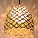 Woven Oval/Semicircle/House Pendant Light with Inner Rattan Shade 1 Light Asian Hanging Ceiling Light for Kitchen