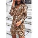 Casual Fancy Ladies' Long Sleeve Surplice Neck Bow Tie Waist Leopard Print Short Wrap Dress