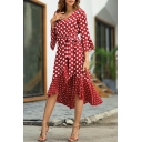 Red Glamorous Ladies Bell Sleeve V-Neck Bow-Tie Waist Ruffled Trim Polka Dot Print Patched Asymmetric Pleated Mid Flowy Dress