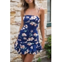Beach Fancy Sleeveless Floral Stripe Patterned Ruffled Trim Cut Out Back Short A-Line Cami Dress for Girls