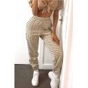 Stylish Trendy Girls' Elastic Waist Letter ROMANTICS MODERN DAY Cuffed Tapered Trousers in White