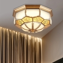 Brass LED Flush Mount Lamp Colonialism White Glass Faceted Ceiling Light for Living Room, 13