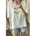 Womens Popular Smile Face Print Short Sleeve Crew Neck Oversized Summer T-Shirt