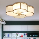 Curved Frosted Glass Brass Ceiling Flush Clover 4 Heads Colonialist Flush Mount Lamp for Living Room