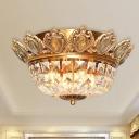 Basket Flush Light Fixture Crystal Block 4 Heads Gold Ceiling Mounted Light for Living Room