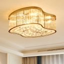 Drum Flush Mounted Light Contemporary Crystal Rod 4 Heads Gold Ceiling Light Fixture for Bedroom