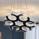 LED Chandelier Pendant Modern C-Shaped Crystal Hanging Ceiling Light in Black for Living Room