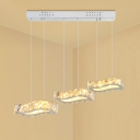 Rectangle Pendant Lighting Fixture Contemporary K9 Crystal LED Nickel Ceiling Lamp