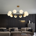 Opal Glass Ball Chandelier Lighting with Metal Ring Mid Century Hanging Light in Brass