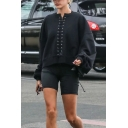 Womens Sexy Black Lace Up Front Long Sleeve Loose Boyfriend Pullover Sweatshirt