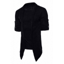 Mens Fall Stylish Plain Long Sleeve Fake Two Piece Knitted Sweater Cape Coat