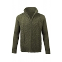 Mens Casual Stand Collar Long Sleeve Zip Up Plain Chunky Cable Knit Sweater Cardigan