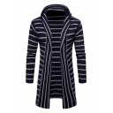Mens Classic Striped Printed Long Sleeve Open Front Hooded Longline Cardigan Coat