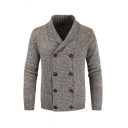 Light Brown Plain Long Sleeve Shawl Collar Double Breasted Knitted Casual Coat Cardigan