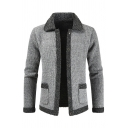 Mens Unique Contrast Lapel Collar Long Sleeve Open Front Gray Knitted Cardigan Jacket with Dual Pocket