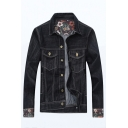 Mens Chic Flower Print Cuff Long Sleeve Button Front Flap Pocket Black Jean Jacket Coat