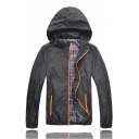Mens Popular Long Sleeve Zip Up Black Hooded Outdoor Thin Track Jacket