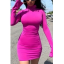 Womens Popular Whole Colored High Collar Long Sleeve Mini Bodycon Dress