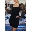 Ladies Elegant Mesh Patched Puff Long Sleeve Square Neck Black Plain Mini Dress