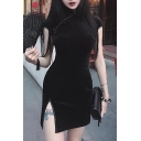 Elegant Oblique Frog Button Split-Side Slim Fit Mini Velvet Cheongsam Dress for Evening Party