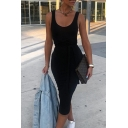 Women's Summer Casual Sleeveless Scoop Neck Sexy Plain Midi Bodycon Tank Dress