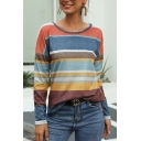 Womens Chic Stripes Printed Round Neck Arc Hem Loose Long Sleeves Pullover T-Shirt
