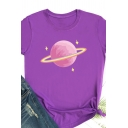Womens Cute Pink Planet Printed Short Sleeve Loose Pullover T-Shirt