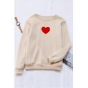 Womens Simple Red Heart Printed Long Sleeve Loose Fit Pullover Sweatshirt