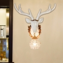 Vintage Deer Sconce Light Clear Crystal 1 Light in Gold/White Wall Lamp for Living Room