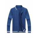 Mens Popular Stand Collar Zip Placket Fitted Knit Baseball Jacket Royal Blue Cardigan