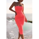 Petite Womens Sexy Plain Spaghetti Straps Midi Bandage Dress for Party