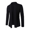 Mens Popular Long Sleeve Shawl Collar Open Front Plain Fitted Knit Cardigan