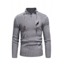 Mens Exclusive Plain Long Sleeve Zipper Lapel Collar Broken Hole Knitted Pullover Sweater
