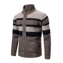 Mens Warm Knit Colorblock Stripe Printed Stand Collar Zip Placket Outdoor Cardigan Coat