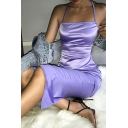 Womens Cool Plain Purple Metallic Spaghetti Straps Cross Lace-Up Back Split Midi Party Dress