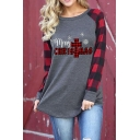 Creative Plaid Patched Long Sleeve Letter MERRY CHRISTMAS Elk Tree Printed Arc Hem Casual T-Shirt