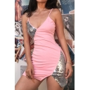Womens Chic Sequins Splicing V-Neck Irregular Hem Pink Mini Party Straps Dress