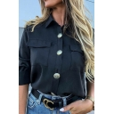 Womens Cool Metal Button Down Epaulets Long Sleeve Flap Pocket Loose Tunic Shirt Top