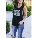 Black Casual Letter BRIDE SQUAD Printed Sleeveless Tank Top for Women