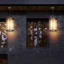 Industrial Rectangle Hanging Ceiling Light Double Glass Shade 1 Light Outdoor Pendant Light for Courtyard