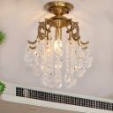 Traditional 1-Light Semi Flush Mount Light Clear/Cognac Curved Iron Flushmount Ceiling Fixture with Crystal Droplets
